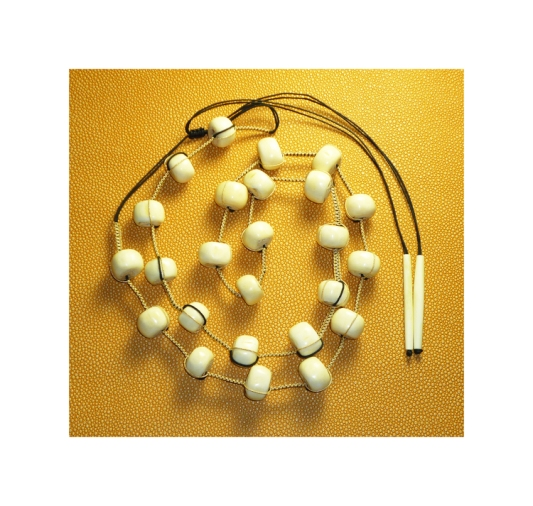NNU112 HANDWOVEN BONE AND BLACK AND GOLD CORD NECKLACE 40 INCHES ADJSUTABLE.jpg