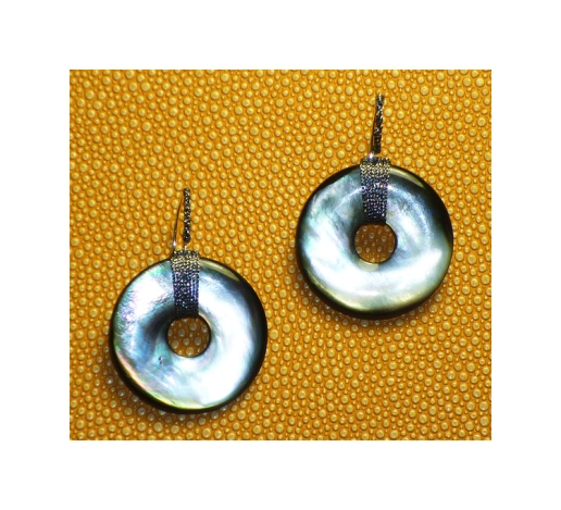 ENU102 SOUTH SEA MOTHER OF PEARL DISC AND STERLING SILVER EARRING HANDWOVEN WITH ANTIQUE SILVER CORD.jpg