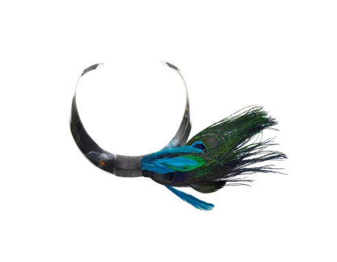 NAP100 STERLING SILVER COLLAR HAND WOVEN WITH PEACOCK AND COQ FEATHERS AND ANTIQUE SILVER CORD.jpg
