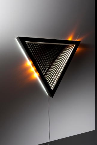 Disperse , wood, reflective glass, mirror, MDF and LED lights, 86 x 99 x 13cm. Photo: Pippy Mount.