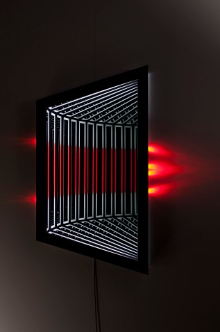 Refract , wood, reflective glass, mirror, MDF and LED lights, 111 x 59 x 13cm. Photo: Pippy Mount.