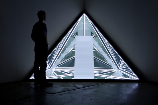Nowhere , wood, reflective glass, perspex, MDF and LED lights, 225 x 315 x 160cm. Photo: Lyrebird Photography.
