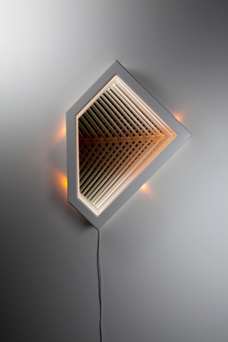 Converge II , wood, reflective glass, mirror, MDF and LED lights, 87.5 x 65 x 12.5cm. Photo: Pippy Mount.