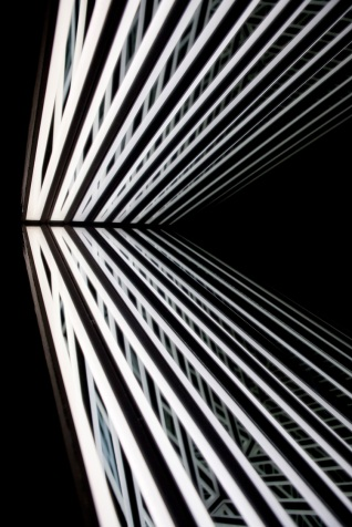 Echo (detail), wood, reflective glass, mirror, MDF and LED lights, 86 x 100 x 13cm. Photo: Pippy Mount.