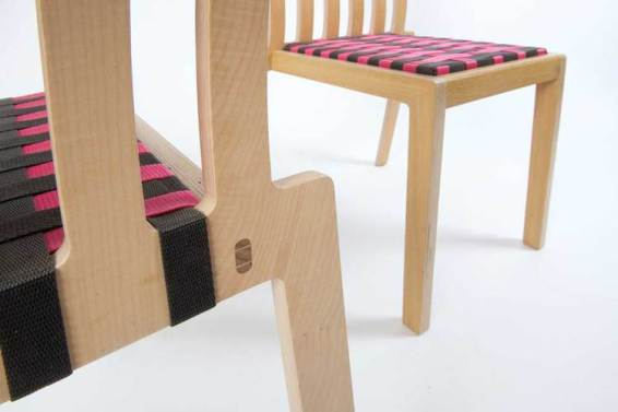 Our Rake Chair, seen here sporting a woven polypropylene seat available in a range of colour combinations.