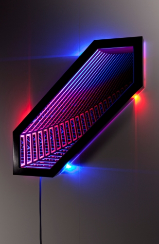 Chromatophore , wood, reflective glass, mirror, MDF and LED lights, 87 x 87 x 13cm. Photo: Pippy Mount.
