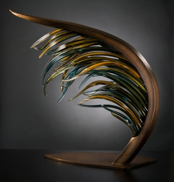 "LAMINARIA Glass cane and metal 38 x 36 x 20"""