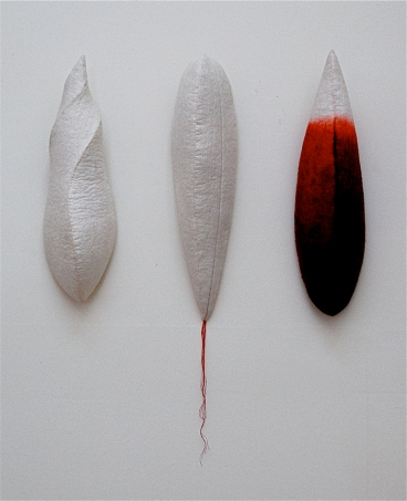 "'tri-pods'   2006 17"" x 4"" x 4"" each industrial felt, fibre reactive dye, embroidery thread, hand stitching"