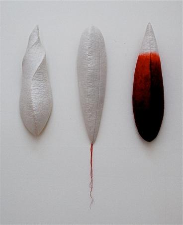 "'tri-pods'  2006 17"" x 4"" x 4"" each industrial felt, fibre reactive dye, embroidery thread, hand stitching"