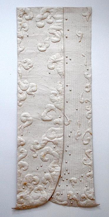 "'salpuri'  2000 82"" x 37"" industrial felt, handmade felt, ceramic beads, silkscreen printing, machine & hand stitching"