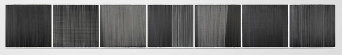drawing black 2014 graphite on cotton mat board 126 by 17 inches