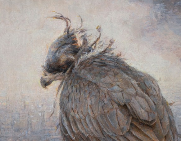 Dust on the scales, Julio Reyes, Julio Art, Arcadia Contemporary, Contemporary realism, Hawk, falconry, fine art, post contemporary, cityscape, dystopia, smoke, city, Hawk, fire cloud